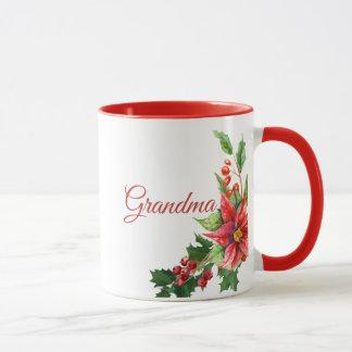 Christmas Poinsettias and Personal Text マグカップ