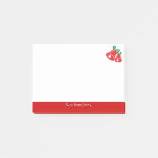 Christmas Red Bell Green Ribbon Custom Text Joyful ポストイット