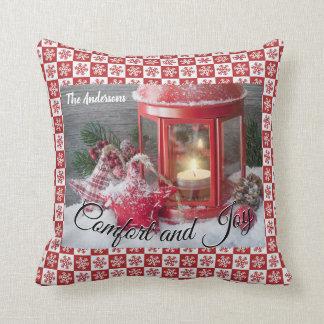Christmas Red Lantern Snowflake Name Custom Pillow クッション