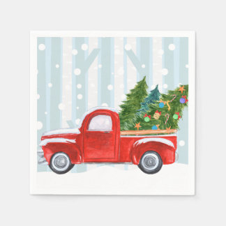 Christmas Red PickUp Truck on a Snowy Road スタンダードカクテルナプキン