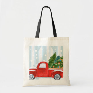 Christmas Red PickUp Truck on a Snowy Road トートバッグ