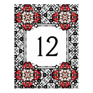 Christmas Season Damask Elegant Table Number ポストカード