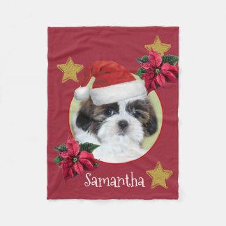 Christmas Shih Tsu personalized dog fleece blanket フリースブランケット