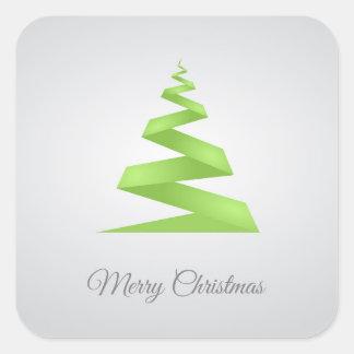 Christmas Simple Ribbon Christmas Tree スクエアシール