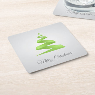 Christmas Simple Ribbon Christmas Tree スクエアペーパーコースター