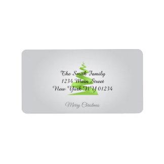 Christmas Simple Ribbon Christmas Tree ラベル