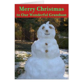 Christmas Snowman Grandson Card カード