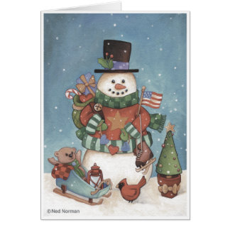 Christmas Snowman Greeting Card カード