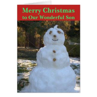 Christmas Snowman Son Card カード