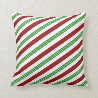 Christmas Striped Mint Candy Cane Holiday Decor クッション