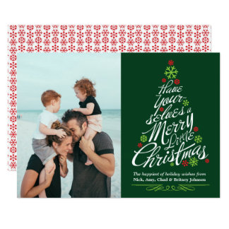 Christmas Tree Calligraphy Script Holiday Photo カード