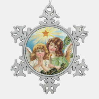 Christmas - Two Little Angels スノーフレークピューターオーナメント
