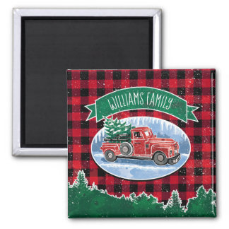 Christmas Vintage Truck Add Name マグネット