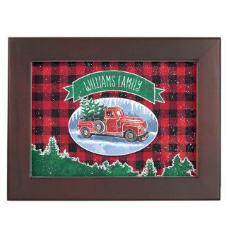 Christmas Vintage Truck Add Name and Photo ジュエリーボックス