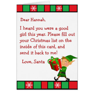 Christmas Wish Letter from Santa Claus (female) カード