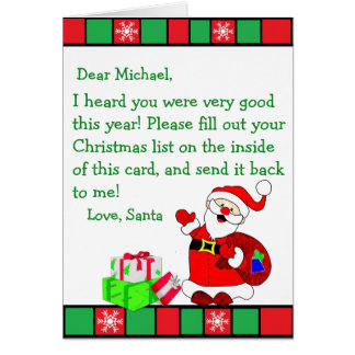 Christmas Wish Letter from Santa Claus (male) カード