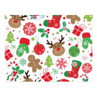 Christmassyおもしろいでカラフルなパターン ポストカード
