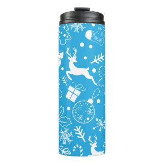 Christmassyおもしろいで青いパターン タンブラー