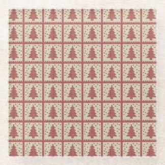 Christmassyの赤によって編まれるパターン ガラスコースター