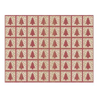 Christmassyの赤によって編まれるパターン ポストカード