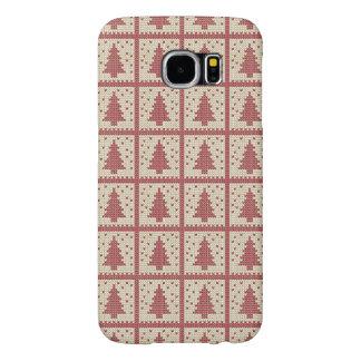 Christmassyの赤によって編まれるパターン Samsung Galaxy S6 ケース