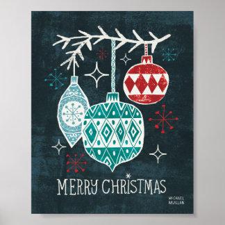 Christmastimeのメリーなオーナメント ポスター