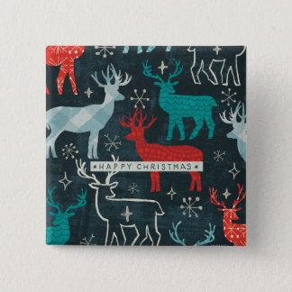 Christmastimeのメリーなトナカイ 5.1cm 正方形バッジ