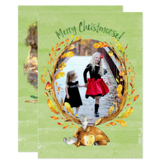 Christmoose Watercolor Greeting Card カード