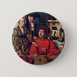Christu著彼の金細工人の研修会のSt. Eligius、 5.7cm 丸型バッジ