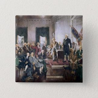 Christy著米国憲法の署名 5.1cm 正方形バッジ