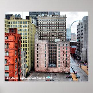 Christy Marti著色のセントルイスの都市景観都市 ポスター