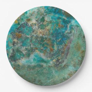 Chrysocollaの青い石造りのイメージ ペーパープレート