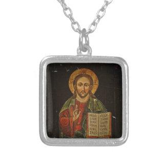 Chrystus Pantokratorアイコン(イエス・キリスト) シルバープレートネックレス