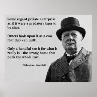 Churchillの自由企業の引用文 ポスター