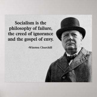 Churchillアンチ社会主義の引用文 ポスター