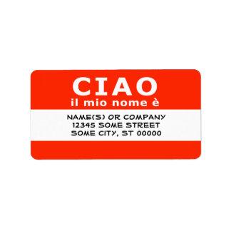 CIAO ilの縮小nome e ラベル