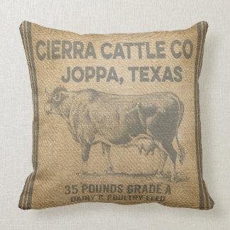 CIERRAの牛CO JOPPAテキサス州バーラップは枕のスタイルを作りました クッション