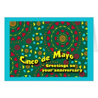 Cinco deメーヨーのカラフルなモザイクの記念日 カード