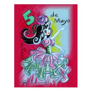 Cinco Deメーヨーのメキシコフラメンコのダンサー ポストカード