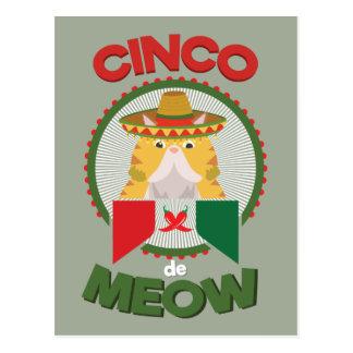 Cinco deメーヨーのメキシコ人の休日のおもしろいな猫 ポストカード