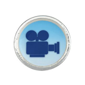 CINEのカメラアイコン(青いデザイン)銀によってめっきされるリング 指輪