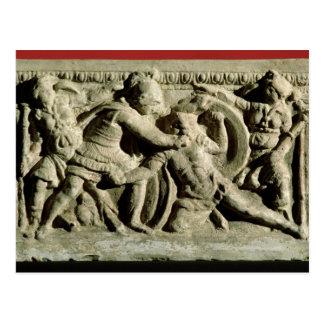 cinerary壷からの戦闘シーン、Etruscan ポストカード