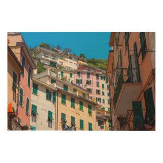 Cinque Terreイタリアのカラフルな家 ウッドウォールアート