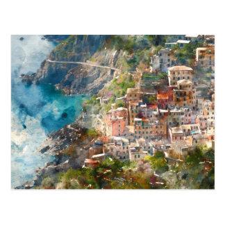 Cinque Terreイタリアの休暇の行先 ポストカード