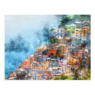 Cinque Terreイタリアの水彩画 ポストカード
