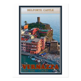 Cinque Terre - Vernazza Belforteの城 ポストカード