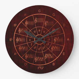 Circle of fifths brown / red color musicians ラージ壁時計