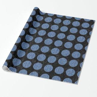 CIRCLES1黒い大理石及び青いデニム ラッピングペーパー
