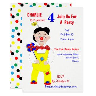 Circus Clown Fun Kids Birthday Party Editable カード