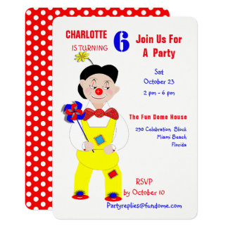Circus Clowns Fun Kids Birthday Party Editable カード